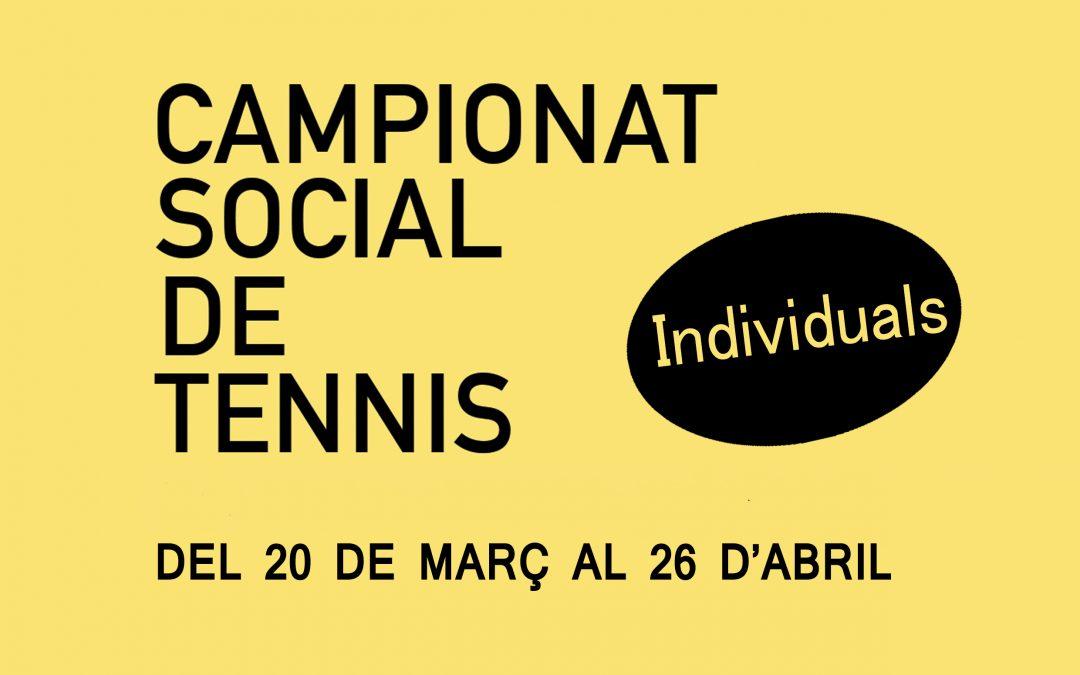 CAMPIONAT SOCIAL DE TENNIS 2020 – INDIVIDUAL